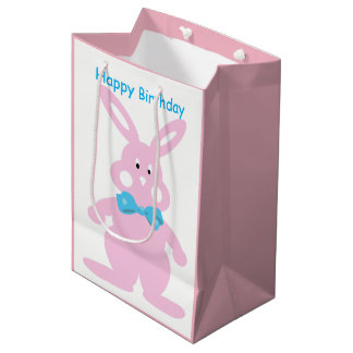 Baby Girl Happy Birthday Bunny Custom MGB Medium Gift Bag