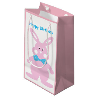 Baby Girl Happy Birthday Bunny Custom SGB Small Gift Bag