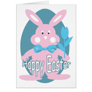 Baby Girl Happy Easter Bunny Card