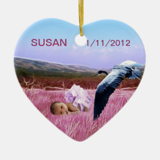 Baby girl heart ceramic heart decoration