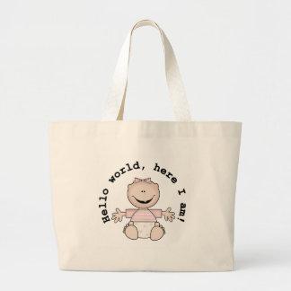 Baby Girl Hello World Jumbo Tote Bag