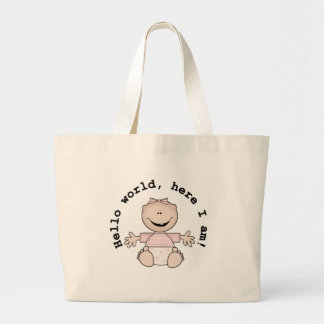 Baby Girl Hello World Large Tote Bag