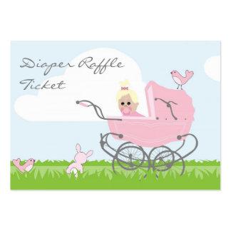 Baby Girl in Pink Pram Diaper Raffle Business Card