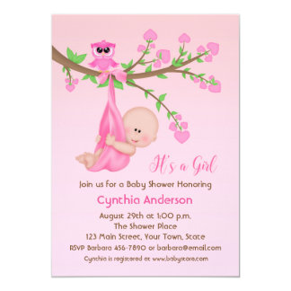 Baby Girl in Tree, Pink, Baby Shower Card