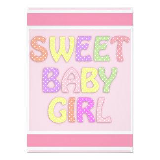 Baby Girl 14 Cm X 19 Cm Invitation Card