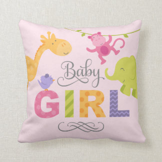 Baby Girl | Jungle Animals Throw Cushion
