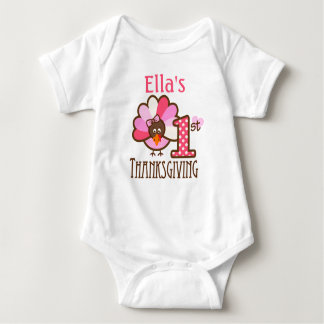 Baby Girl My First Thanksgiving Pink Bodysuit