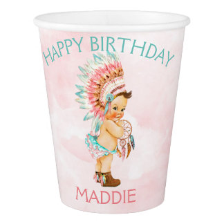 Baby Girl Native Headdress Blush Pink Aqua Paper Cup
