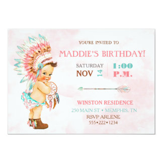 Baby Girl Native Tribal Headdress Blush Pink Aqua Card