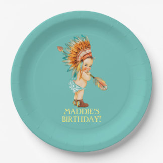 Baby Girl Native Tribal Headdress Moccasins 9 Inch Paper Plate