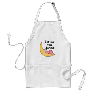 Baby Girl on Moon Spring Adult Apron