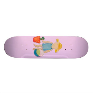 Baby Girl on Summer Beach Birthday Rose Pink Stamp 21.6 Cm Skateboard Deck