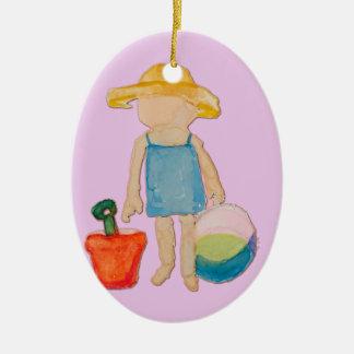 Baby Girl on Summer Beach Birthday Rose Pink Stamp Ceramic Ornament