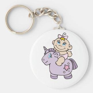 Baby Girl on Unicorn Keychain