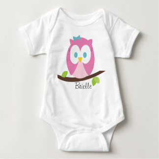 Baby Girl Owl on a Branch Baby Bodysuit