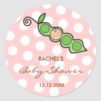 Baby Girl Pea in a Pod Pink Baby Shower Sticker