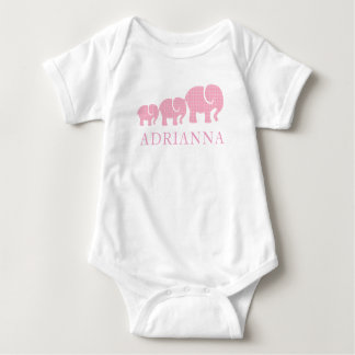 Baby Girl Personalized Pink Plaid Elephants Baby Bodysuit
