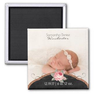 Baby Girl Photo Birth Announcement   Rose Glitter Magnet