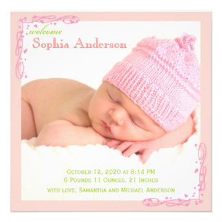 Baby Girl Photo Birth Announcement Soft Pink Swirl