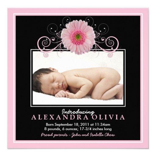 Baby Girl Photo Daisy Birth Announcement