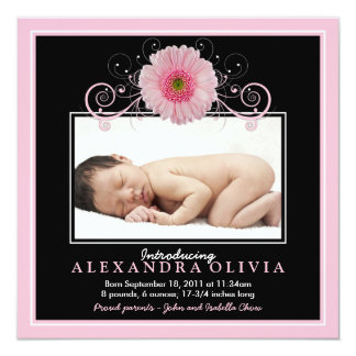 Baby Girl Photo Pink Daisy Birth Announcement