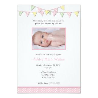 Baby Girl Photo Sip and See Invitation