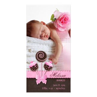 Baby Girl Photocard Announcement Cake Pops Pink Picture Card