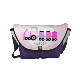 Baby Girl Pink and Purple Train with Name Diaper Commuter Bags