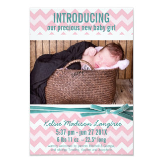 Baby Girl Pink and Teal Chevron Photo Card