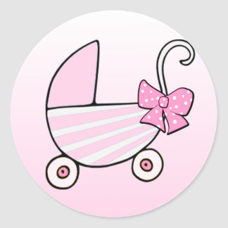 Baby Girl Pink Baby Buggy Classic Round Sticker