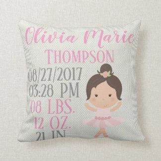 Baby Girl Pink Ballerina Ballet Dancer Birth Cushion