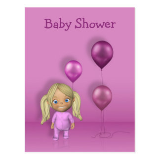 Baby Girl & Pink Balloons - Baby Shower Postcard