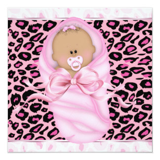 Baby Girl Pink Black Leopard Baby Girl Shower Card