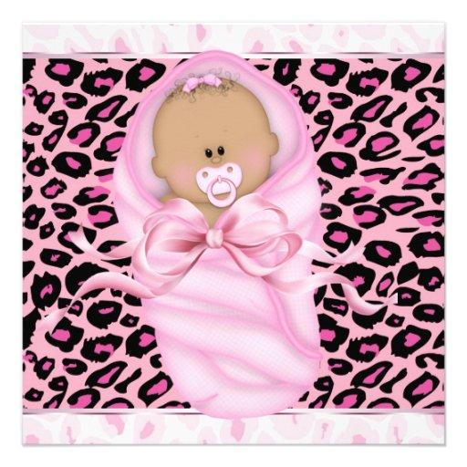 Baby Girl Pink Black Leopard Baby Girl Shower Custom Invite