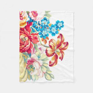 Baby Girl Pink Blue Mint Victorian Rose Pattern Fleece Blanket