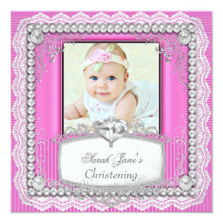 "Baby Girl Pink Christening Baptism Cross Lace 5.25"" Square Invitation Card"