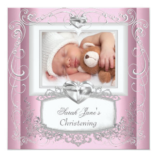 "Baby Girl Pink Christening Baptism Cross White 5.25"" Square Invitation Card"