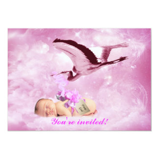 Baby girl pink clouds and stork shower invitation