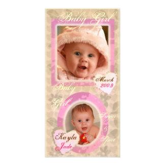 Baby Girl Pink & Cream Vintage Photo Card
