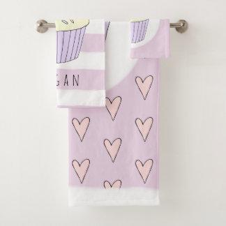 Baby Girl Pink Doodle Cupcake Heart Pattern Name Bath Towel Set