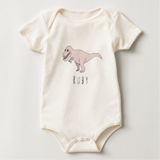 Baby Girl Pink Doodle T-Rex Dinosaur with Name Baby Bodysuit