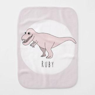 Baby Girl Pink Doodle T-Rex Dinosaur with Name Burp Cloth
