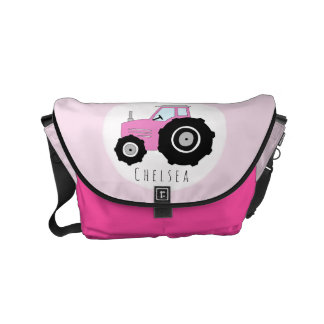 Baby Girl Pink Farmer's Tractor with Name Diaper Commuter Bags