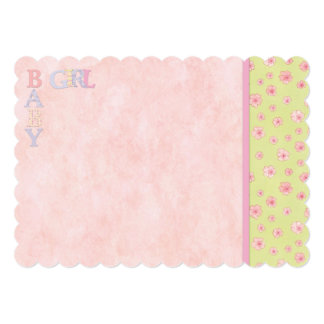 Baby Girl Pink Flowers Flat Invitation