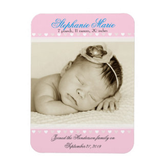 Baby Girl Pink Photo Birth Announcement Magnet