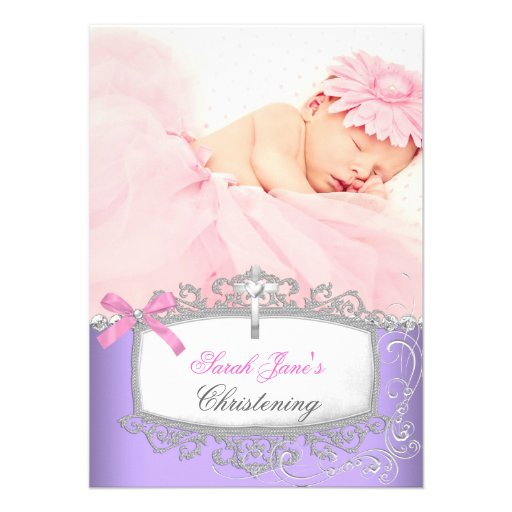 Baby Girl Pink Purple Christening Baptism Cross Invitations