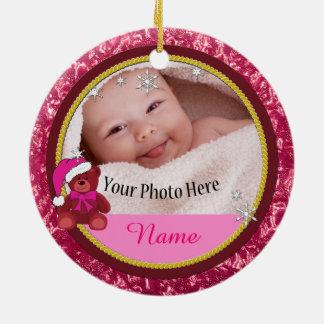 Baby Girl Pink Teddy Bear Personalised Christmas Ceramic Ornament