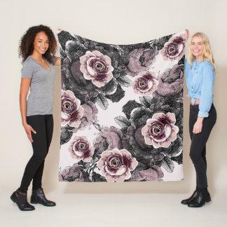 Baby Girl Pink White Black Victorian Rose Pattern Fleece Blanket