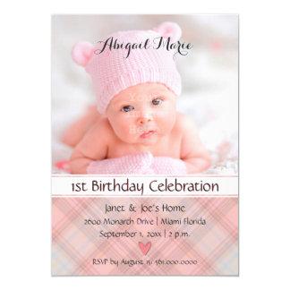 Baby Girl Pretty in Pink Plaid Birthday Card