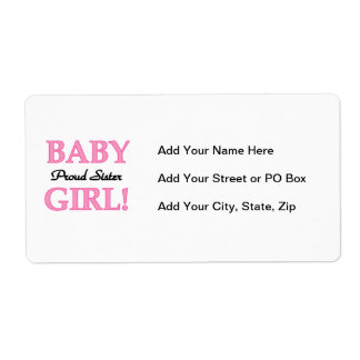 Baby Girl Proud Sister Gifts Shipping Label